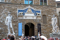 Sculptures of David and Hercules and Cacus, Firenze, Italy Stock Photos