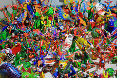 Sculptures de fantaisie en bois découpées colorées Image libre de droits