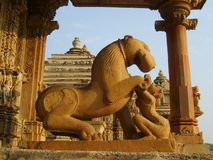 Sculptures decorating Hindu temple in Kajuraho Royalty Free Stock Photos