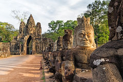 Sculptures of demons of Asia. South gate to Angkor Thom in Cambodia Stock Images