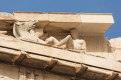 Sculptures in detail in the pediment of the Parthenon. On the Acropolis Hill Royalty Free Stock Photos
