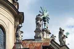 Sculptures of dome of St. Eucharist Church in Lviv, Ukraine. Sculptures of dome of St. Eucharist Church, the former Dominican Church in Lviv, Ukraine royalty free stock photography