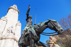 Sculptures of Don Quixote and Sancho Panza on the Plaza de Espana in Madrid, Spain Royalty Free Stock Image