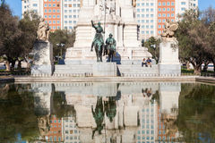 Sculptures of Don Quixote and Sancho Panza on the Plaza de Espana in Madrid, Spain Royalty Free Stock Photo
