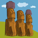 Sculptures of Easter island Rapa Nui Royalty Free Stock Photo