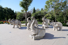 Sculptures of elephants, in Beijing Zoo, Beijing, China Stock Photo