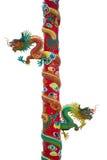Sculptures en dragon d'or sur le poteau Photos libres de droits