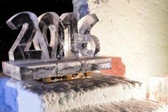 Sculptures en glace dans l'icehotel Images libres de droits