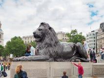 Sculptures en lion de Trafalgar Square connues sous le nom de lions de Landseer Photo libre de droits