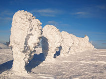 Sculptures en neige en Laponie Photographie stock