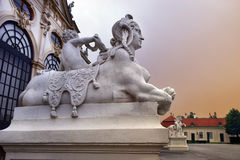 Sculptures at the entrance Belvedere palace, Vienna, Austria Royalty Free Stock Photo