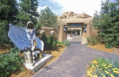 Sculptures at the entrance to the Inn of Loretto in Santa Fe, NM Stock Photo