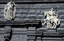 Sculptures on facade of Black House, Lviv,Ukraine Royalty Free Stock Photography