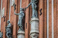 Sculptures on the facade of the House of Blackheads in Riga, Lat Royalty Free Stock Image