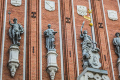 Sculptures on the facade of the House of Blackheads in Riga, Lat Royalty Free Stock Photos