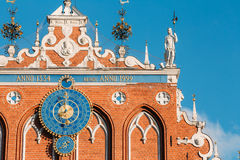 Sculptures On The Facade Of The House Of Blackheads In Riga, Latvia Stock Photo