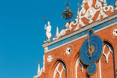 Sculptures On The Facade Of The House Of Blackheads In Riga, Latvia Royalty Free Stock Photo