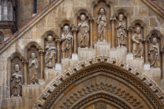 Sculptures on the facade of Jak Chapel in Budapest Royalty Free Stock Photography