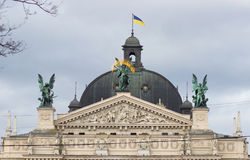 Sculptures on facade of Lviv State Academic Opera and Ballet Theatre. Royalty Free Stock Images