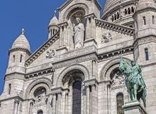 Sculptures on the facade of the Sacre Coeur in Paris royalty free stock photo