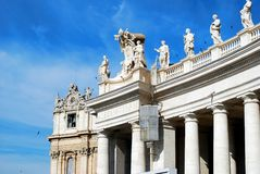 Sculptures on the facade of Vatican city works Royalty Free Stock Photography