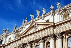 Sculptures on the facade of Vatican city works Stock Photos