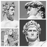 Sculptures. Famous florentine artistic sculptures collage Stock Images