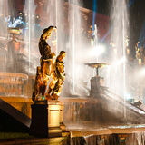 Sculptures with fountain on background Stock Image