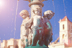 Sculptures at  fountain in Rossio Square Royalty Free Stock Photography