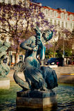 Sculptures at  fountain in Rossio Square Stock Images