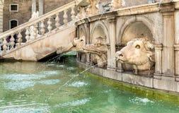 The Sculptures of Fountain of Shame or Praetorian Fountain at the Pretoria square in Palermo, Sicily. Stock Photos