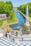 Sculptures and fountains of Grand Cascade, Peterhof, Saint Petersburg Royalty Free Stock Image