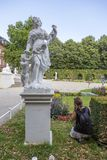 Sculptures in front of the Prince-elector Palace in the center of Trier. Trier, Germany - July 06, 2018: Sculptures in front of the Prince-elector Palace in the stock image