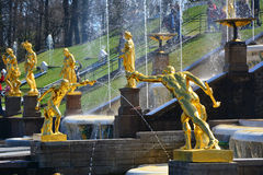 Sculptures of Gladiators in Peterhof, St. Petersburg, Russia. Sculptures of Gladiators of Big Fontain cascade in Lower garden of Peterhof, St. Petersburg, Russia Stock Photos
