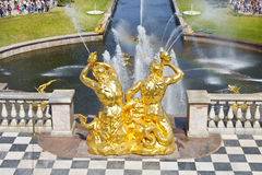 The sculptures on Grand cascade fountain Royalty Free Stock Images
