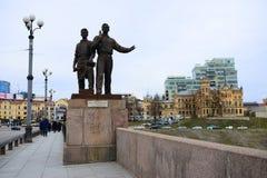 Sculptures on the green bridge representing soviet art Stock Photo