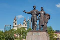 Sculptures of the Green Bridge in Vilnius Royalty Free Stock Image