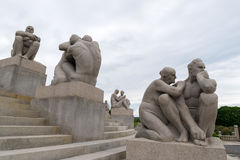 Sculptures by Gustav Vigeland in Vigeland Park Stock Images