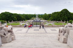 Sculptures by Gustav Vigeland in Vigeland Park Royalty Free Stock Photography