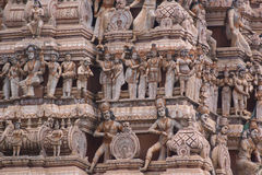 Sculptures on Hindu temple. Ornate sculptures on Hindu temple in Sri Lanka royalty free stock photos