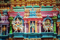 Sculptures on Hindu temple tower Stock Images