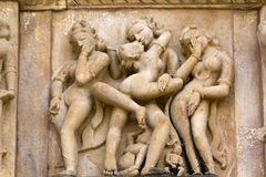 Sculptures at Khajuraho Temple. Stock Images