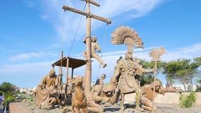 Sculptures landing pre Columbian civilization Chiclayo Peru. Peru July 27 2018 Statues representing pre columbian civilization. This monument is located in stock footage