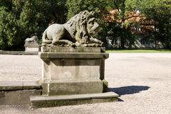The sculptures of lions in Nieborow estate, Poland stock photos