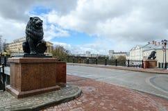 Sculptures of lions at Pushkinsky bridge, Vitebsk Royalty Free Stock Images