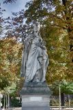 Sculptures of the Luxembourg garden. And Palace & x28;le Jardin du Luxembourg& x29;. Statues of French Queens. Paris parks stock photo