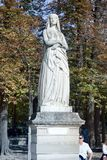 Sculptures of the Luxembourg garden. Paris, France - 22.09.2017: Sculptures of the Luxembourg garden and Palace (le Jardin du Luxembourg). Statues of French royalty free stock photo