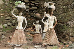 Sculptures made from recycled ceramic at Rock Garden - Chandigarh - India. Rock Garden of Chandigarh is a sculpture garden founded by Nek Chand in Chandigarh Stock Photos