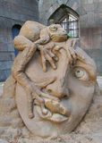 Sculptures made of sand. Festival of fairy-tale sand sculptures at the walls of the Peter and Paul Fortress in St. Petersburg. Russia. Thumbelina stock images