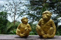 Sculptures of monkeys in national park, Thailand Stock Photos